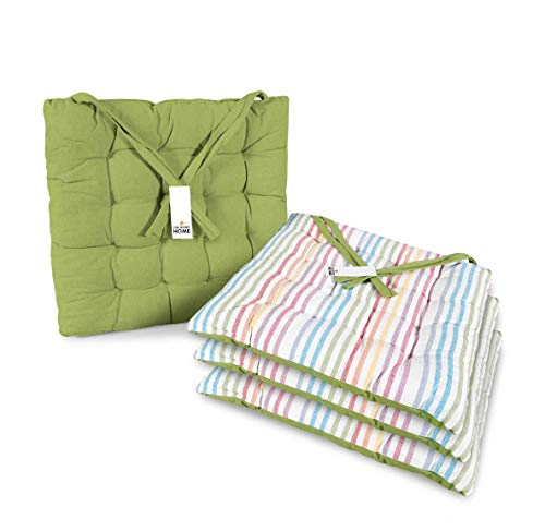 Thesecrethome.es | Cojines para sillas jardín, Comedor, Cocina | Cojines Acolchados para Silla de 40 x 40 cm | Decoración hogar Ideal para sillas Rayas, Cuadros (Verde-Multi, 4)