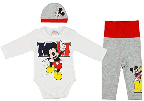 Disney Baby 3tlg Set Anzug Mickey Mouse Junge Bunt 56 62 Perfekt Babykleidung zuckersüße Body Mütze Hose Outfit, Größe: 56