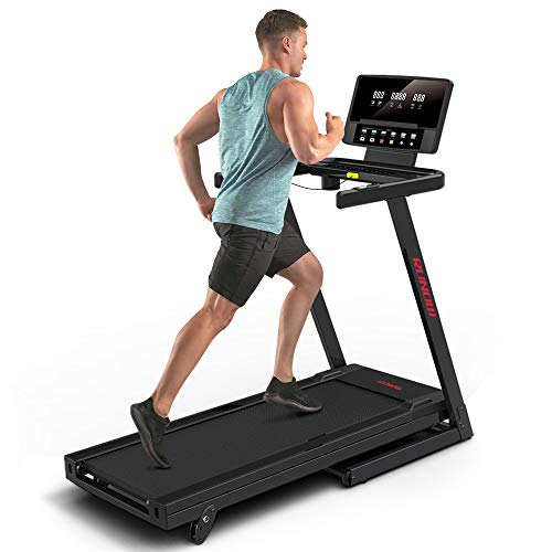 RUNOW Folding Treadmill with Incline for Home Apartment, Electric Running Machine, Treadmill with LCD Monitor Running Walking Jogging Exercise Fitness Machine