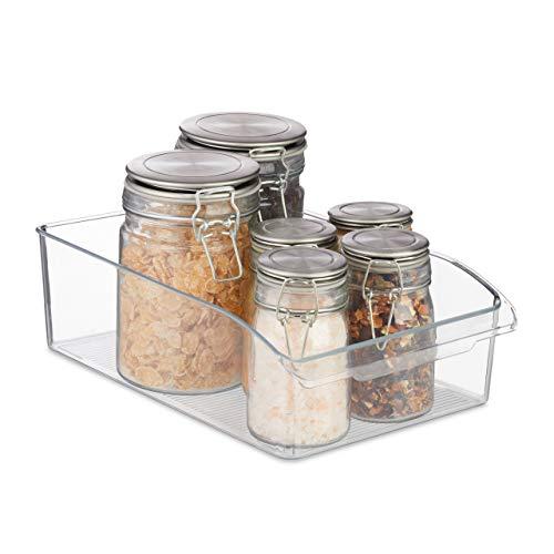 Relaxdays Küchen Organizer, Lebensmittel Aufbewahrung, mit Griff, Kunststoff, Kühlschrankbox, 9x31x20 cm, transparent, 1 Stück