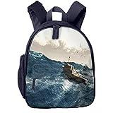 Mochilas Infantiles, Bolsa Mochila Niño Mochila Bebe Guarderia Mochila Escolar con Mar Pesca Barco Gigante