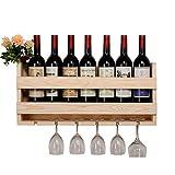 Cremagliere del vino fissate al muro/Espositore per bottiglie a parete/Portabottiglie con portabicchieri sospeso/Scaffale per vino e portabottiglie/Contiene 7 bottiglie, 6 bicchieri
