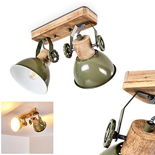 Deckenleuchte Orny, Deckenlampe aus Metall/Holz in Grün/Weiß/Braun, 2-flammig, mit verstellbaren Strahlern, 2 x E27-Fassung max. 60 Watt, Spot im Retro/Vintage Design, für LED Leuchtmittel geeignet