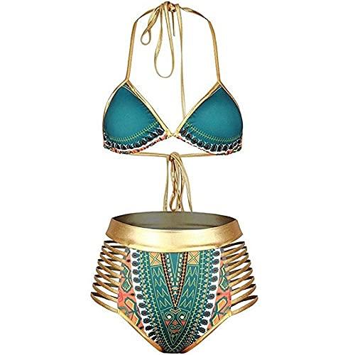 JIEZ Plus Size Costume da Bagno Costumi da Bagno Costume da Bagno di Grandi Dimensioni Costumi da Bagno Sud Africa Hot Triangle Bikini Costume da Bagno Vita Alta Carattere di Stampa Qua