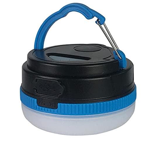 Tuimiyisou Linterna Camping, Tienda De Campaña Ligera Impermeable con USB Recargable Magnética Mini Lámpara Que Acampa De La Noche Aire Libre Luces Azul