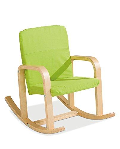 Home4You Kinder-Schaukelstuhl Kindersessel Kinderstuhl | Apfelgrün | Holz | Baumwolle
