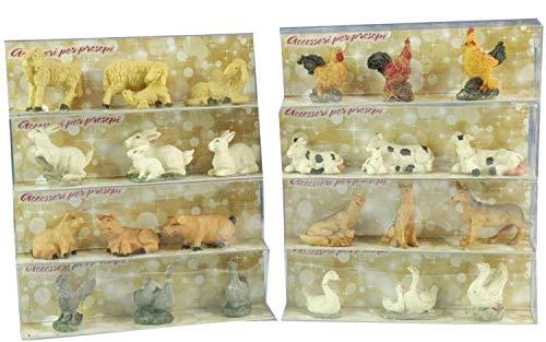 BUYSTAR Set 3pz Animali per presepe Animale per presepe Decorazione Natale presepe pecorelle Conigli papere