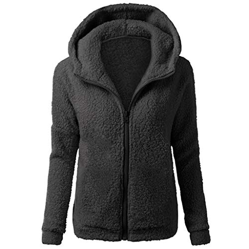 RUIVE Women's Artificial Wool Coats Hooded Fall Spring Zipper Plain Plus Size Windbreaker Coats Girls Plain Hoodies Jackets
