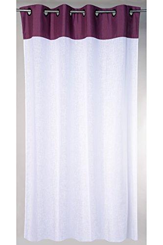 Linder Rideau - 8 œillets Fusil Ronds, Tête 100% Polyester + Panneau 60% Polyester/40% Coton, Prune, 145X240
