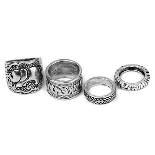 LEORX Conjunto de 4 anillos Vintage pack Ring Set - talla patrón (antigua plata)