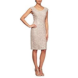 Champagne Ivory Shift Midi Lace Embroidered Dress With Sequins