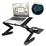 Laptop Table, Adjustable Laptop Bed Table, Portable Laptop Workstation Notebook Stand Reading Holder with Large Cooling Fan & Mouse Pad,Ergonomic Lap Desk TV Bed Tray Standing Desk