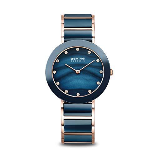 BERING Reloj de pulsera analógico de cuarzo para mujer con pulsera de acero inoxidable y cerámica y cristal de zafiro.