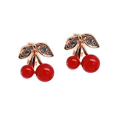 Idin Jewellery - Ciliegie rosse con orecchini a clip di cristallo