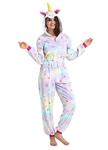 Einhorn Pyjama Overall Einhorn Kostüme Schlafanzug Für Kinder / Erwachsene (L, Stern)