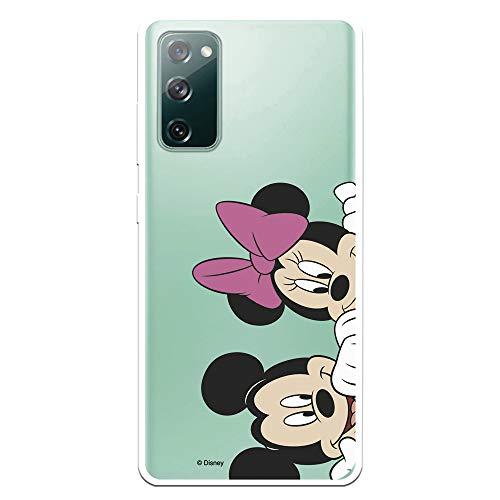 Funda para Samsung Galaxy S20 FE Oficial de Clásicos Disney Micky y Minnie Asomados para Proteger tu móvil. Carcasa para Samsung de Silicona Flexible con Licencia Oficial de Disney.