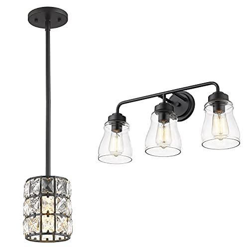 CALDION Indoor Light Sets, Set of 2 Matching Bundle, Pendant Light & Vanity Light, 6869PL-BK, 2695VL-BK-3