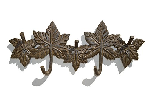 gasare, Key Holder Wall Hooks, Entryway Key Rack, Leaves Décor, 5 Hangers, Antique Cast Iron, Rustic-Modern Brown, 11 ½ x 5 ¼ Inches, Wall Mount Screws and Anchors, 1 Unit
