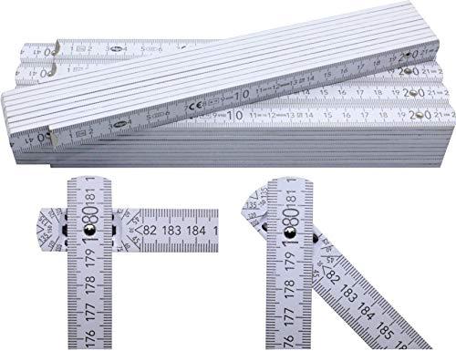 5 Stück Adga 250 plus Qualitäts Zollstock 2m mit Winkelskala (30°/60°/90°) und 90/180 Grad Winkeleinrastung, weiß ohne Werbeaufdruck