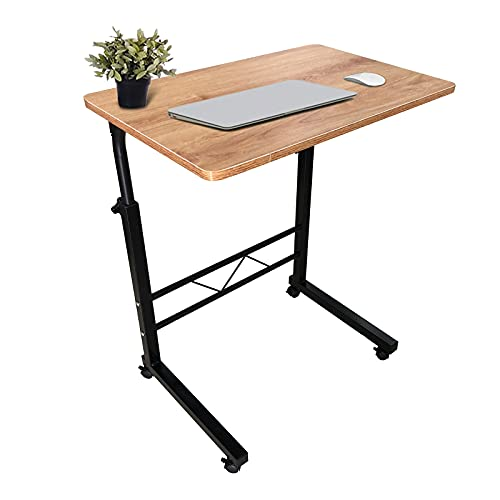 """Mobile Laptop Table,Adjustable Height Rolling Sofa Bed Side Desk for Home Office, Work Stand 23.62"""" x 15.74"""", Portable Workstation Table with Wheels"""