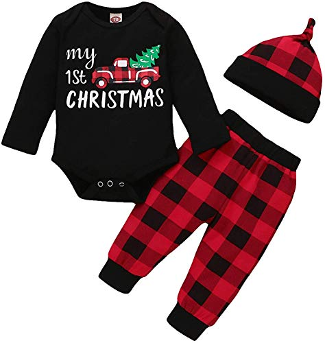 Baby Boys Girls My 1st Christmas Outfits My First Christmas Letter Print Romper+Red Plaid Pants Pajamas+Hat 3Pcs Clothes Set
