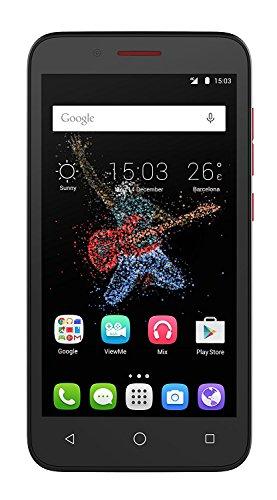 Alcatel One Touch Go Play Smartphone, 8 GB, 4G, Schwarz/Rot (Single SIM, Android, NanoSIM, Edge, GPRS, GSM, HSDPA, HSPA+, HSUPA, LTE)