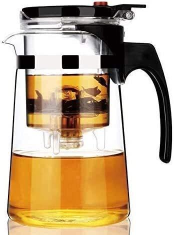 Bouilloire induction Théière à théière paresseuse Thésière en verre résistant à la chaleur Office intérieure Teaware avec passoire 750 ml pour bureau à domicile extérieure 10.2x16.5cm WHLONG