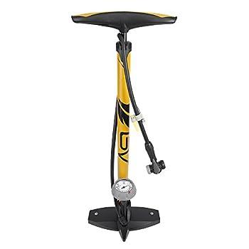 BV Bicycle Ergonomic Bike Floor Pump with Gauge & Smart Valve Head 160 psi Automatically Reversible Presta and Schrader