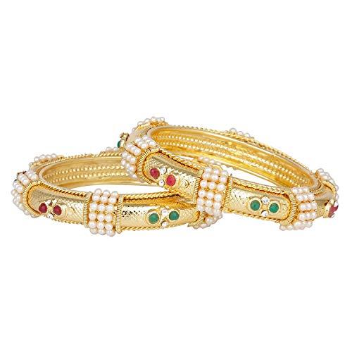 Efulgenz Modeschmuck Indische Bollywood 14 Karat vergoldet Kunstperle Rubin Smaragd Armbänder Armreif Set (2 Stück) für Damen - 2.80