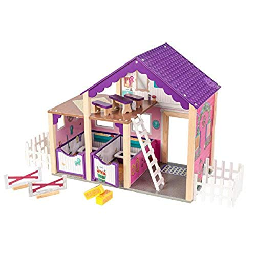 KidKraft 63602 Deluxe Horse Stable Playset Colorful Play Accessory for Two Horses with Accessories, 24' x 11.8' x 20.6', Multicolor
