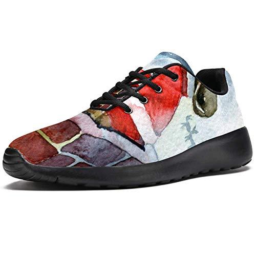 TIZORAX Laufschuhe für Damen, Weihnachtsmann, Klettern, Schornstein, modische Sneaker, Netzstoff, atmungsaktiv, Mehrfarbig - mehrfarbig - Größe: 38.5 EU