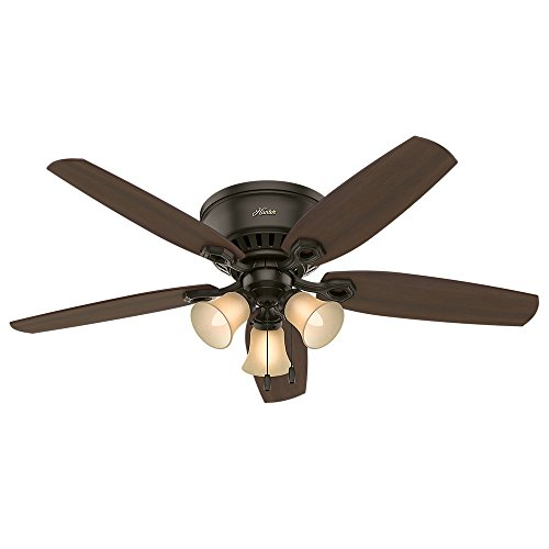 HUNTER 53327 Builder Indoor Low Profile Ceiling Fan with LED Light and Pull Chain Control, 52', Bronze