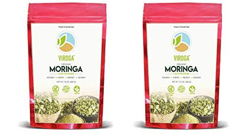 Viroga India 100% Organic Moringa Oleifera Leaf Powder - Easy to Mix in Drinks, Tea & Recipes. From Mangalore - NET Wt. 14 OZ 400gms Resealable Bag - by Sumathi Organic Farms (USDA Certified)