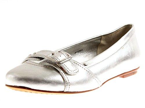 ESPRIT P14562 Damen Ballerinas Leder Schuhe Slipper Schuhe Silber EU 37