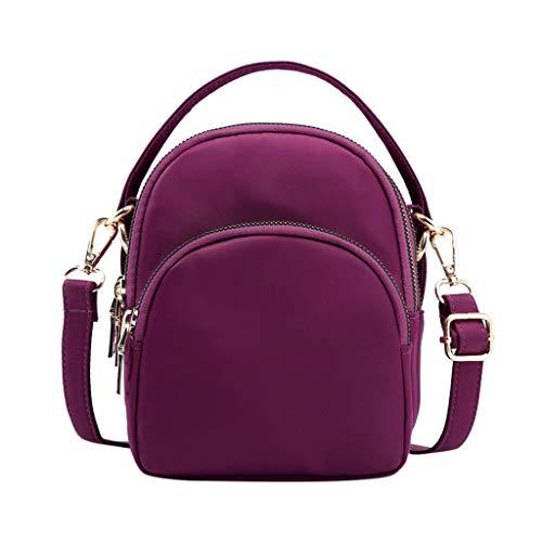 Mitlfuny handbemalte Ledertasche, Schultertasche, Geschenk, Handgefertigte Tasche,Mode Damen vielseitige Nylon Multi-Layer-Reißverschluss Handtasche Schulter Messenger Bag