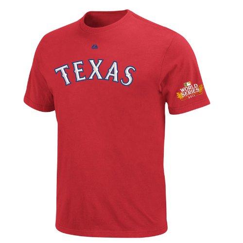 Majestic MLB Men's Texas Rangers Josh Hamilton 2011 World Series Name & Number T-Shirt (Athletic Red, Small)