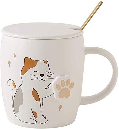 Taza de cerámica, pata linda del gato Aplauda tazas de té, con una cuchara de acero inoxidable y la tapa, divertido de las tazas, de cumpleaños de la Navidad lucar (Color : B)