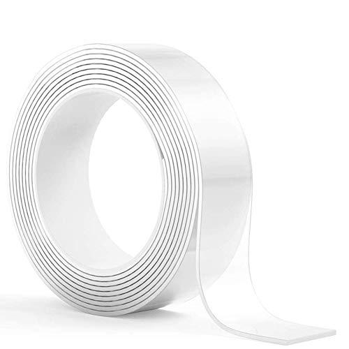 Oladwolf 5M Doppelseitiges Klebeband Extra Stark, Nano Magic Tape Spurloses Waschbares Klebeband Transparent, Temperaturbeständiges Montageband Spiegelklebeband Doppelseitig Montageklebeband