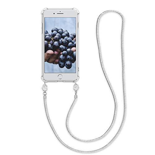 kwmobile Funda de Silicona Compatible con Apple iPhone 7 Plus / 8 Plus - Carcasa TPU Transparente - Case con cordón de Metal de 120CM