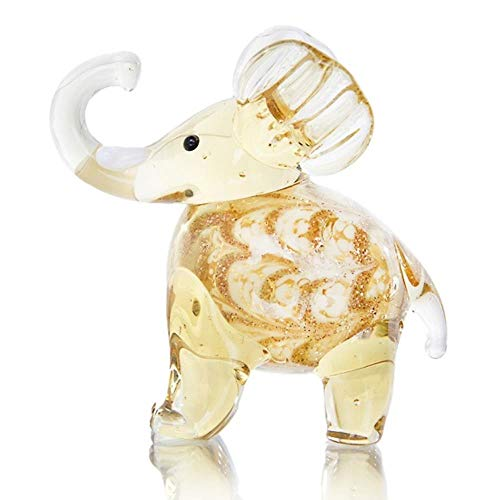Handgeblazen kunst glas hemelsblauw olifant beeldjes Wild dier Collectible Gif Home Dollhouse miniaturen Ornament Home Decor, Champagne