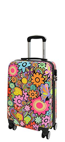 Four Wheels Hard Shell Suitcase Flowers Printed Travel Luggage Floral Design (Cabin)