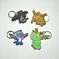 DCB1 pc 新漫画フィギュアあなたのドラゴンキーチェーン 3D 両面キーリング pvc アニメキーホルダーフィギュアのおもちゃのギフト (青い)