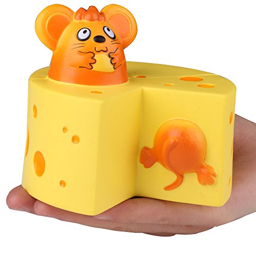 AIKEMI Easter Squishies Slow Rising Cheese Mouse Holding Corn Soft Squishy Stress Relief Baby Toys Gifts
