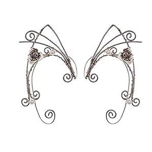 Puños de oreja de duende, pendientes con clip hechos a mano Pendientes de envoltura de puño élfico para mujer - Filigrana de borla de ala de perla - Disfraz de hada de fantasía de (Estilo 1)