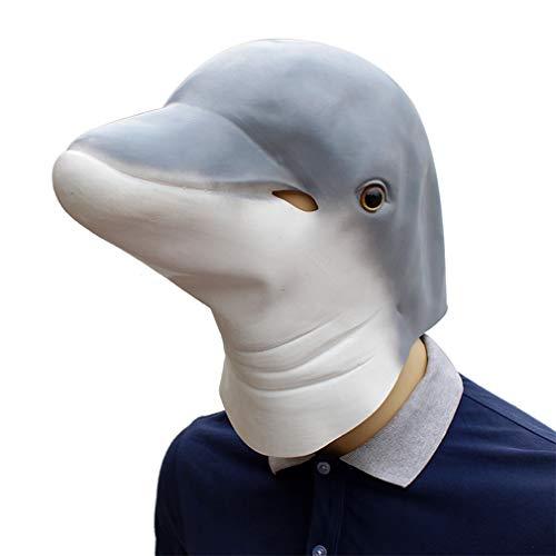 DUBAOBAO Adult Halloween partij dier maskers tieners Mannen Vrouwen dolfijn blauw en wit latex latex maskers