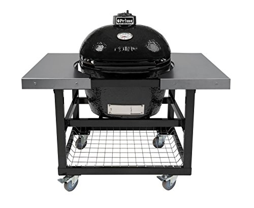 Cheapest Prices! Primo Oval LG 300 Ceramic Smoker Grill On Cart with 2 Piece SS Side Tables