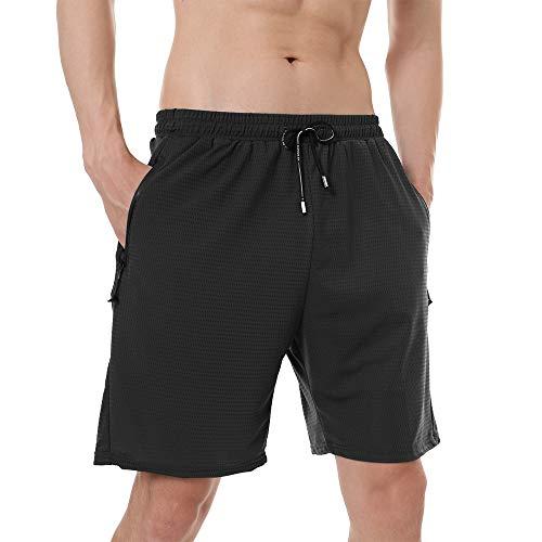 SHINEFUTURE Herren Shorts Sport Shorts Kurze Hose Atmungsaktive Jogging und Training Shorts Fitness Taschen mit Reißverschluss Tennisshorts Leisure Sport Style (Schwarz, Large)
