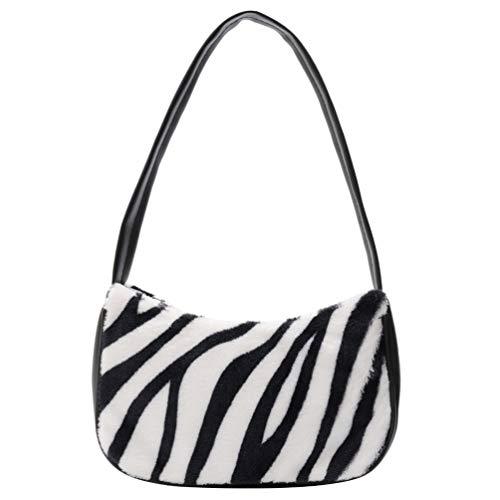 VALICLUD Bolso de Hombro para Mujer Mini Furry Handbag Underarm Purse Zebra Print Clutch Bag Faux Fur Purse