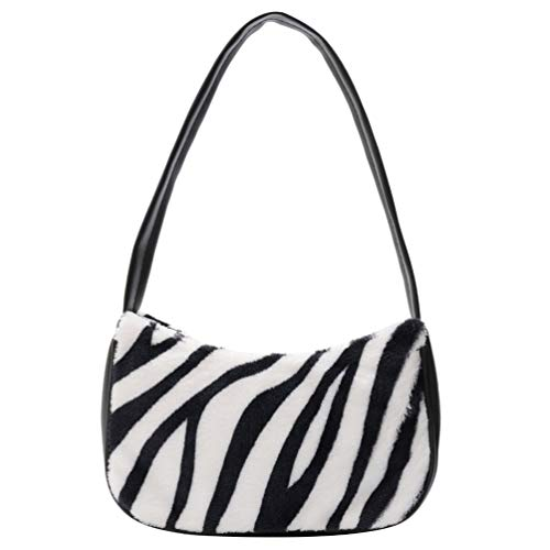 VALICLUD Shoulder Bag for Women Mini Furry Handbag Underarm Purse Zebra Print Clutch Bag Faux Fur Purse
