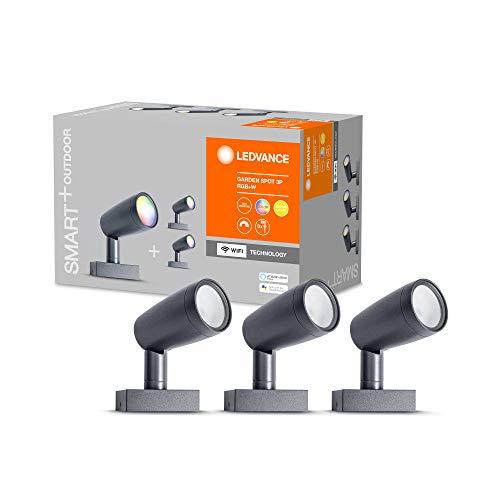 LEDVANCE Smarte LED Gartenleuchte mit WiFi Technologie, Basispaket mit 3 Spot-Strahler für Außen, RGB-Farben änderbar, Kompatibel mit Google und Alexa Voice Control, SMART+ WIFI GARDEN SPOT 3P